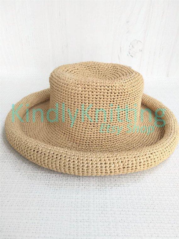 Large Straw Hat Womens Hat Summer Raffia Sun Hats Rolled Brim Etsy Raffia Hat Straw Hat Beach Crochet Sun Hat