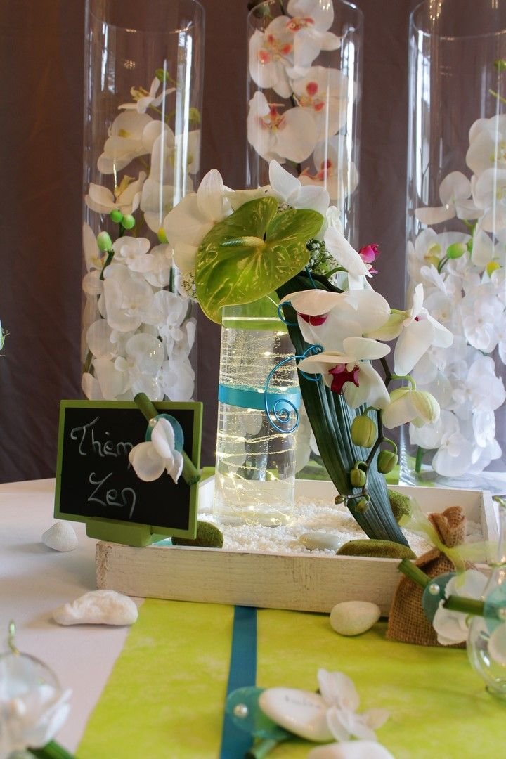 centre de table mariage th me zen turquoise vert anis orchid e et fleur exotique mariage. Black Bedroom Furniture Sets. Home Design Ideas