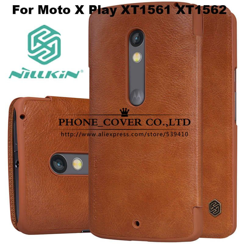 6104e48df21d Nillkin Genuine Wallet Leather Case Cover For Motorola Moto X Play XT1561  XT1562 5.5 Phone cases for Moto X Play case+ Film gift