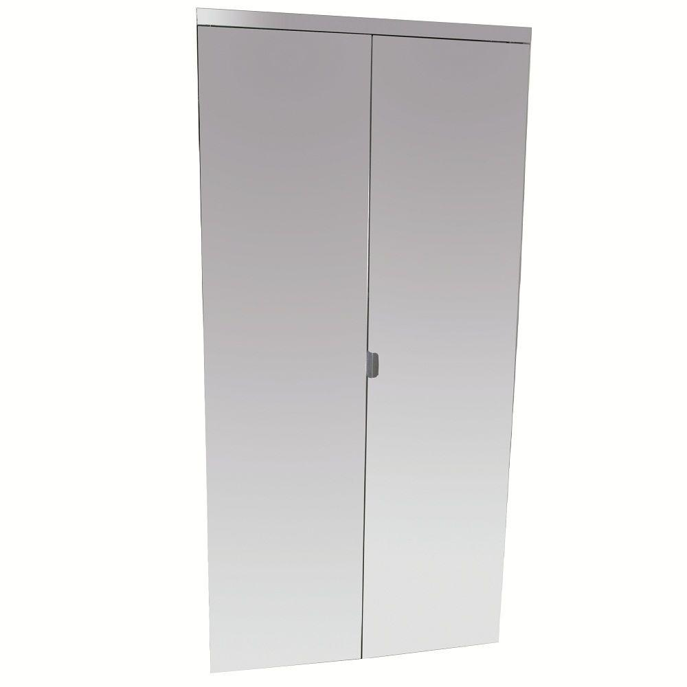 30 In X 80 In Beveled Edge Mirror Solid Core Mdf Interior Closet Bi Fold Door With White Trim Bedroom Beveled Edge Mirror Mirror Closet Doors Und Glass