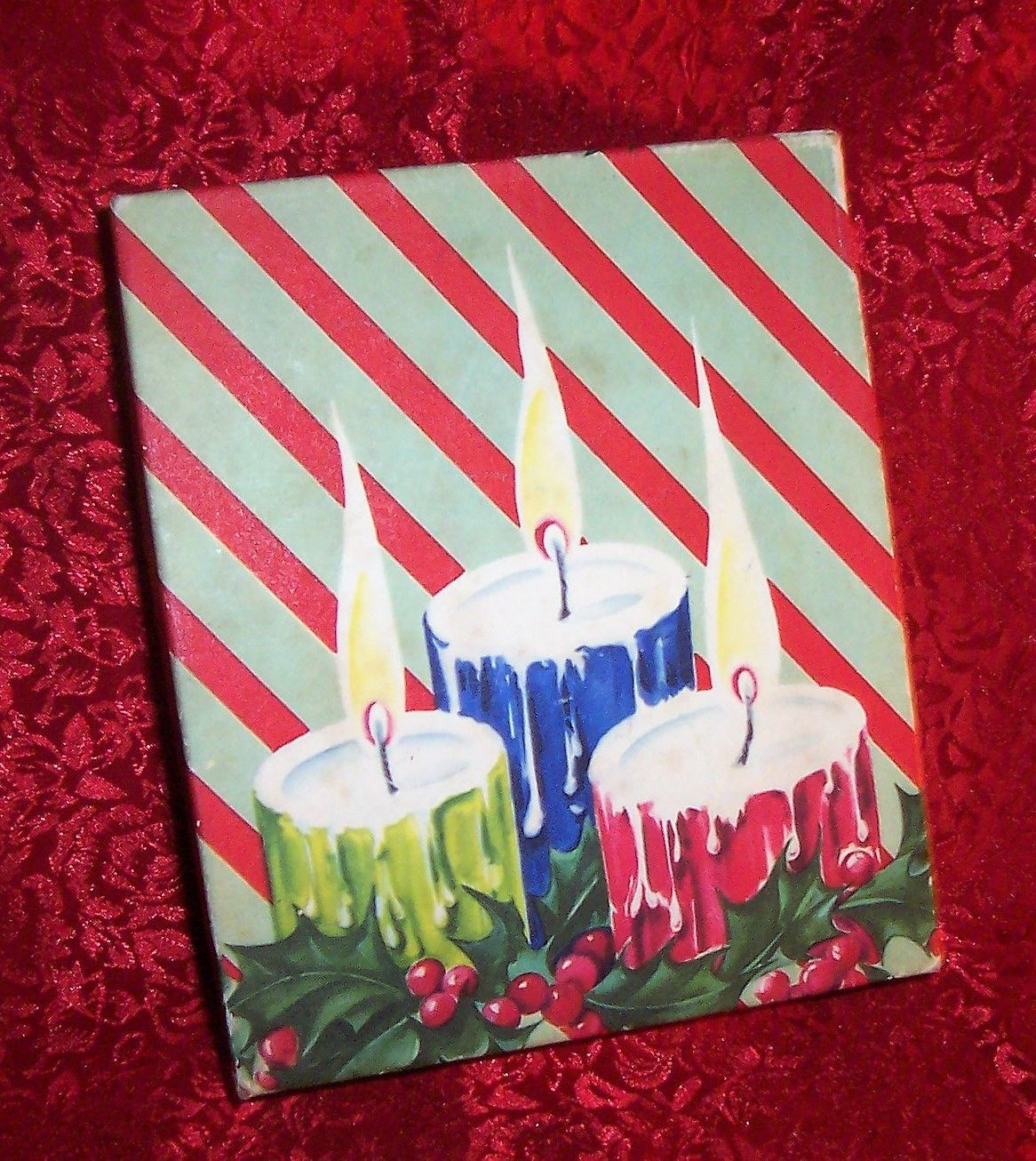 Mid Century Vtg Candleholly Xmas Greeting Card Box Empty Gift Box