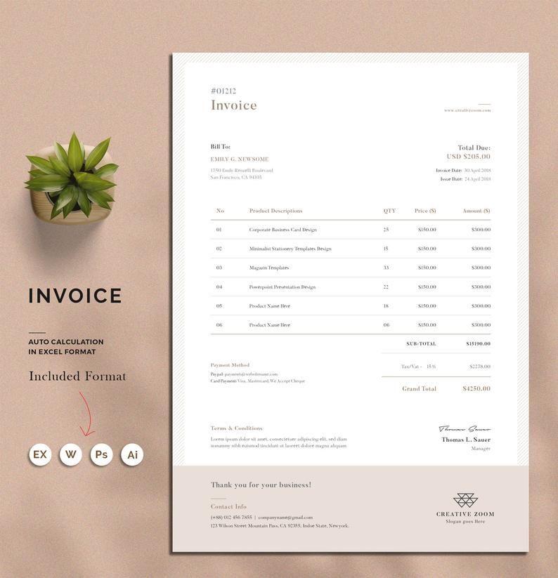 Invoice Template Estimate Quotation Receipt Printable Invoice Word Invoice Stationery Excel Invoice Digital Download Factura Diseno Disenos De Unas Membrete En Word