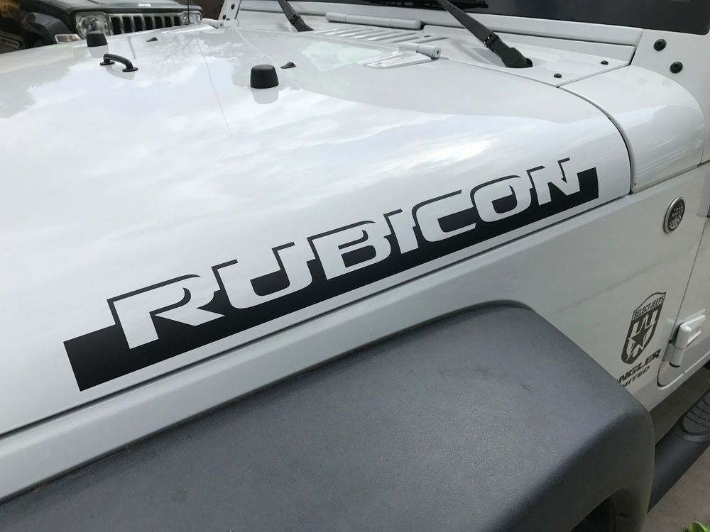 0093 2pcs Rubicon Shadow Hood Side Decal Graphic Jeep Wrangler