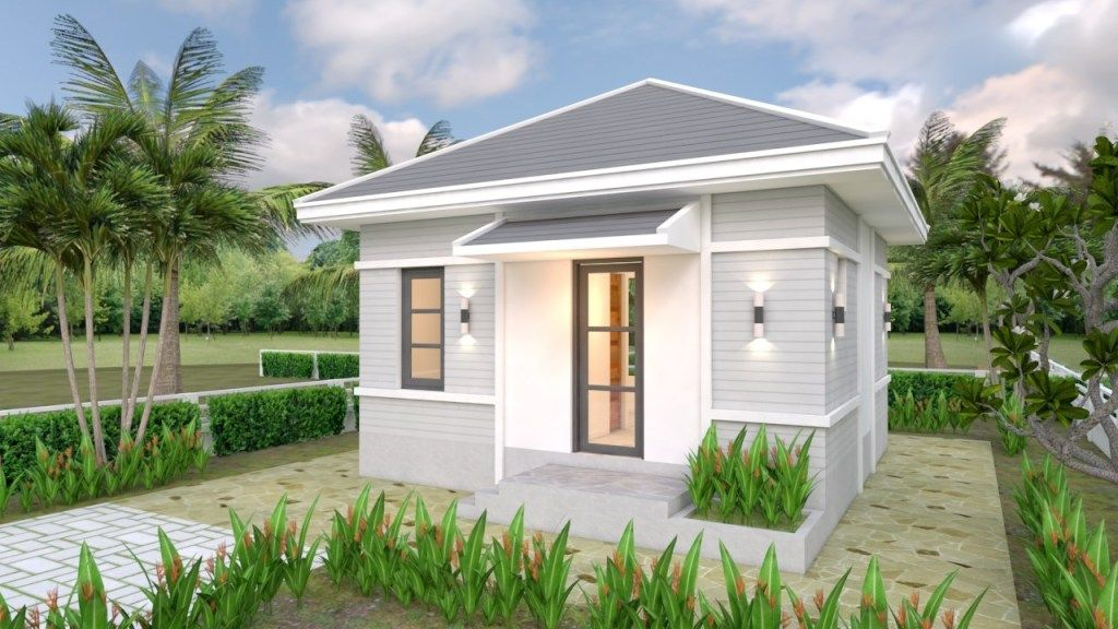 Small House Plans 6x6 With One Bedroom Hip Roof 1 In 2020 Tiny House Design One Bedroom House Plans Small House Design Plans