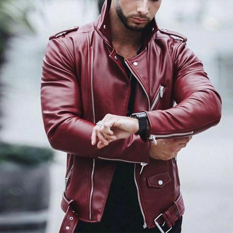 Fashion PU Leather Biker Jacket in 2020 Leather jacket