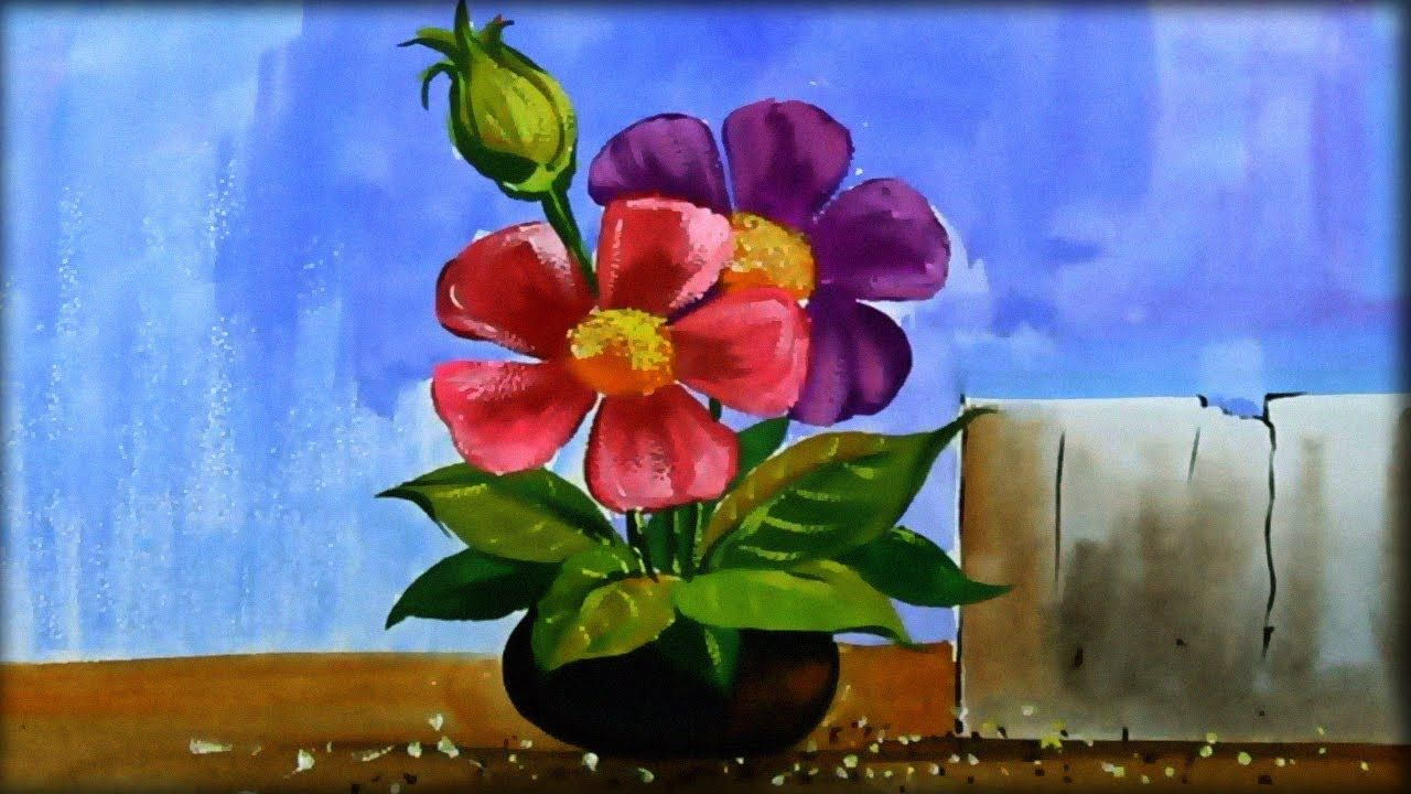 Still Life Painting Flower Vase Painting Poster Colour Paint
