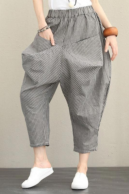 Photo of Vintage Casual Striped Cotton Linen Pants Women Fall Trousers Q1376 #women'sfash…