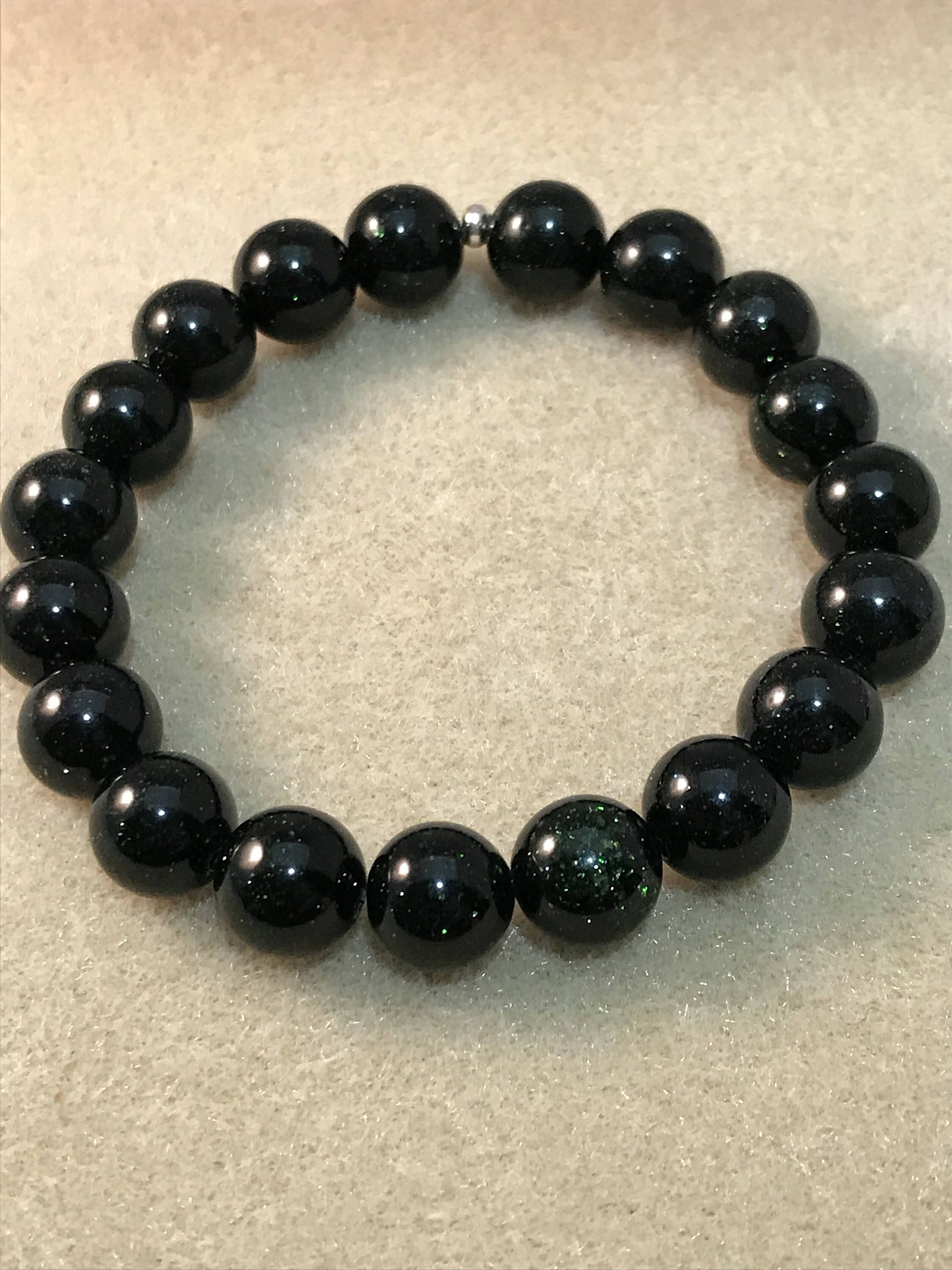 bracelet ball plus onyx chrome bead ch hearts