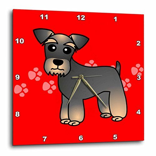 3drose Dpp 40887 1 Miniature Schnauzer Banded Brown Base Coat Salt And Pepper Cartoon Dog Red With Pawprints Personalized Wall Art Cartoon Dog Home Wall Decor