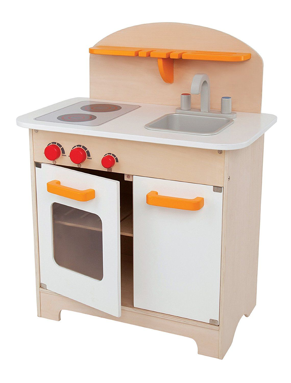 amazoncom hape playfully delicious gourmet kitchen wooden play set white