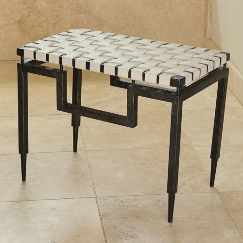 "Wrought Iron Bench with Black Powder Coated Finish, 24.25""L x 14""W x 18.5""H, $447"