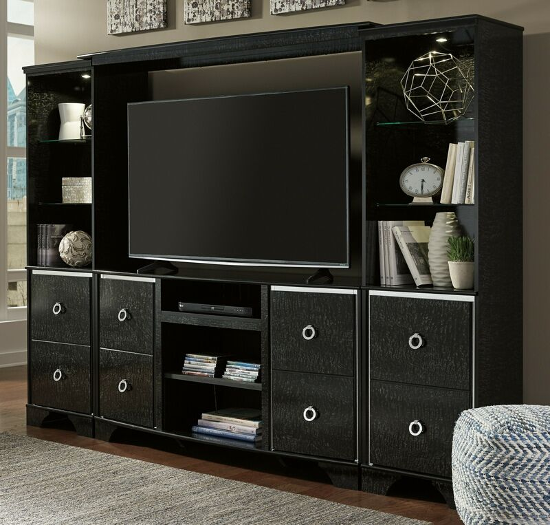 Ashley Furniture W257 68 2 24 25 4 Pc Lenmara Collection Black