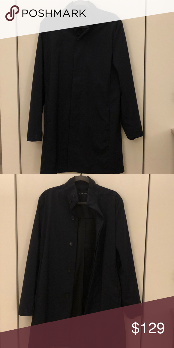 0e2d9dde3c Theory Men's Navy Tech Trench Coat Light overcoat, perfect for spring/fall.  Great