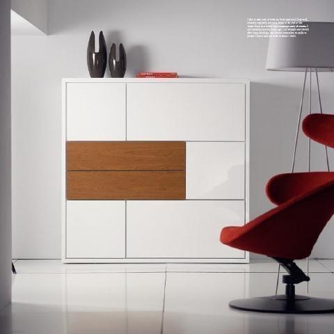 Moderno aparador en blanco con un caj n en madera - Muebles capsir ...