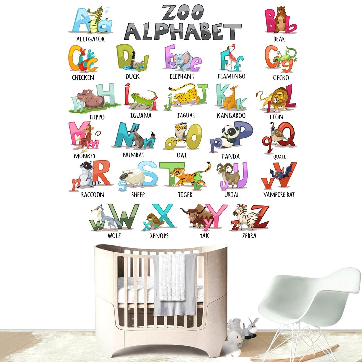 wall decals colourful animal alphabet abc kids removable on wall stickers for kids id=46276