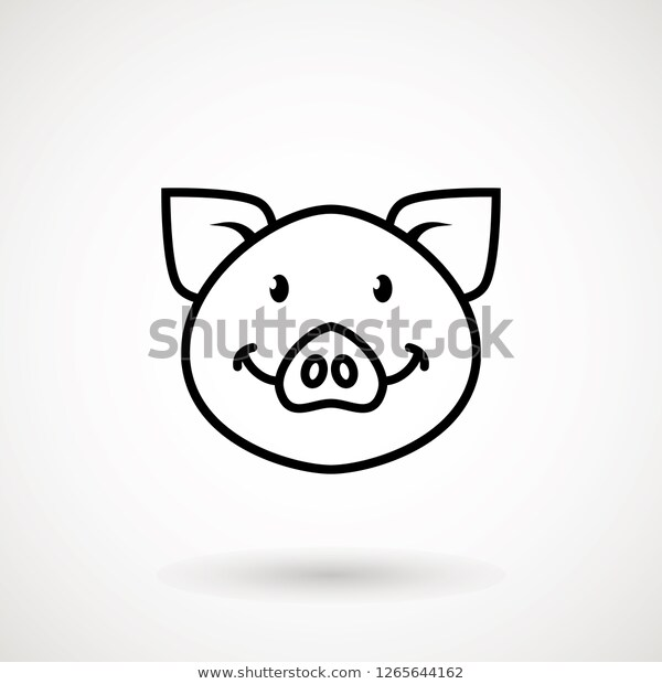 Pig Line Icon Logo Piglet Face Stock Vector Royalty Free 1265644162 Line Icon Piglet Face Icon