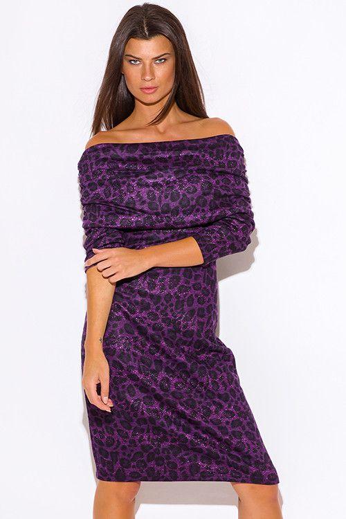 45de32f4303c Purple-Animal-Print-Off-Shoulder-Sweater-Dress