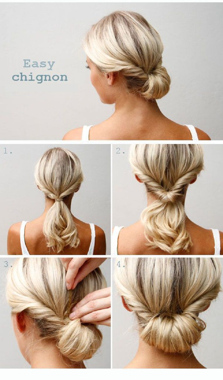 Easy chignon tutorial hairstyles pinterest easy chignon