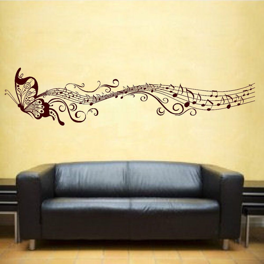 Butterfly & Music Notes Vinyl Sticker Wall Art Bedroom Decal 3 ...