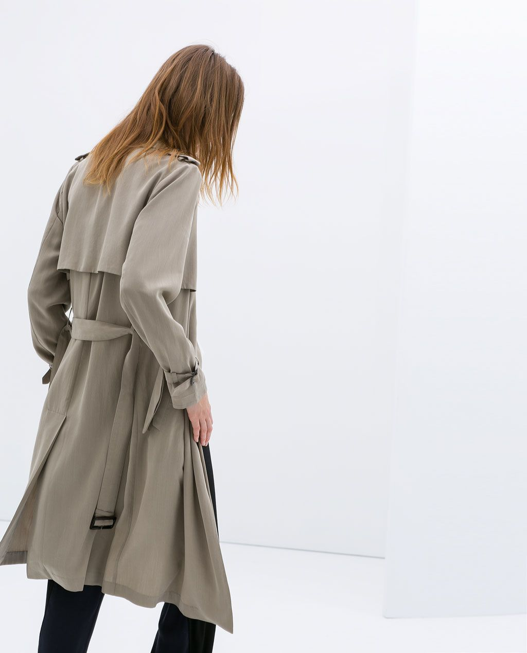 LONG FLOWING TRENCH COAT from Zara. Dress up your destroyed jeans.