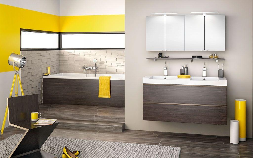 Meuble de salle de bain avec plan vasque Inspirations NC120DD wengé ...
