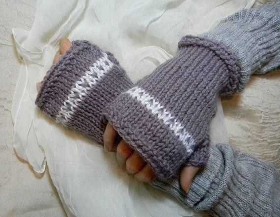 Misty Lavender Fingerless Gloves / Hand Knit / Fair Isle Valentine ...