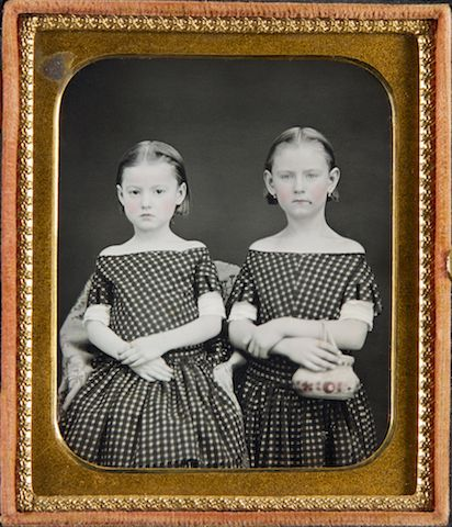 Sisters in Polka-dot Dresses, One with Beauty Mark and Purse, n.d.