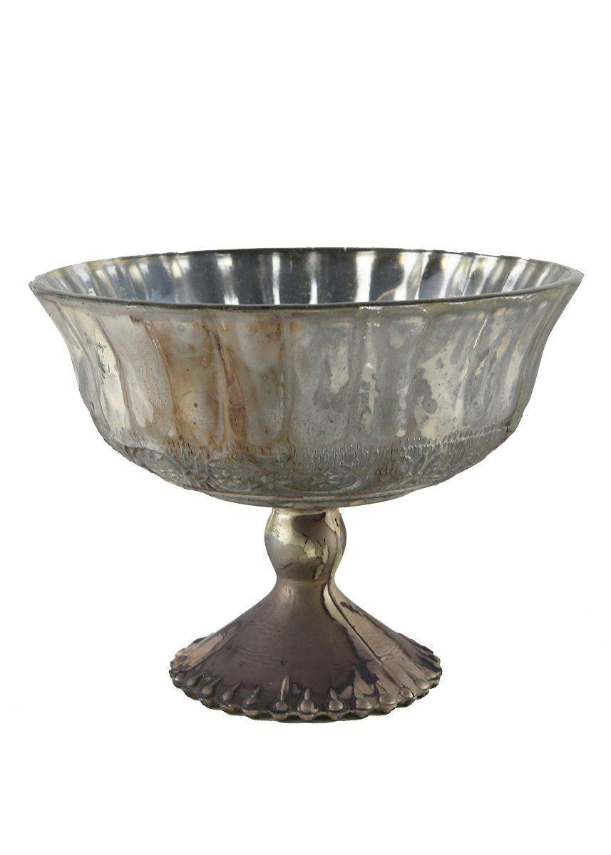 Mercury Glass Pedestal Bowl in Distressed Platinum - 5.25