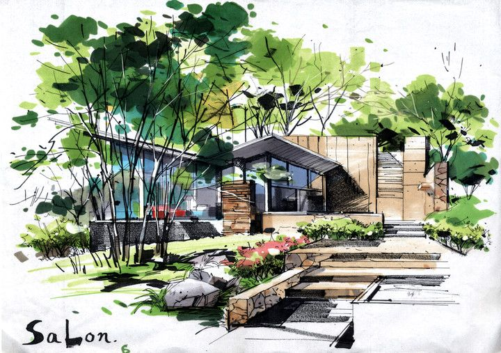 Pin By Alexis David On Hand Draw Landscape Architecture Drawing Architecture Design Sketch Watercolor Architecture