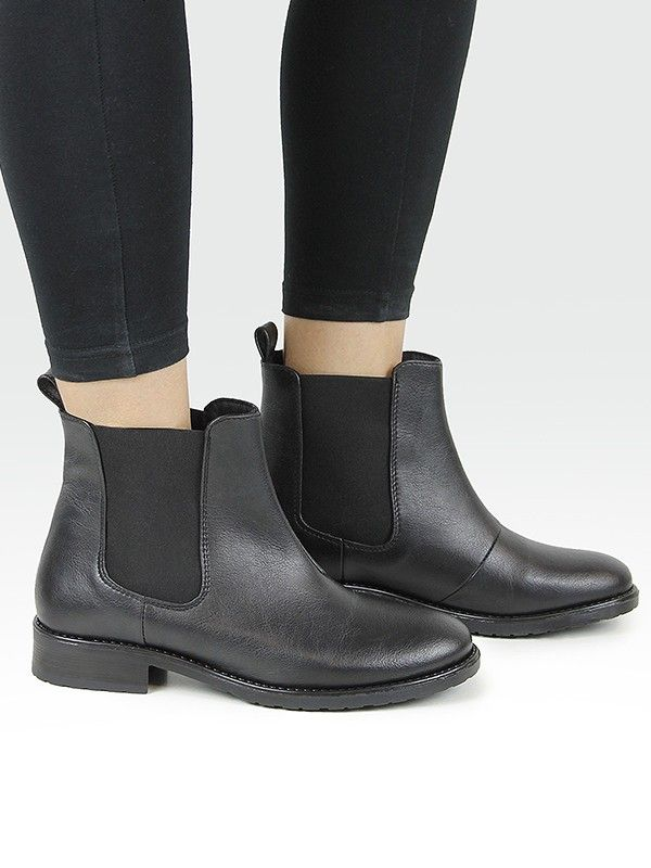 Vegan Vegetarian Non-Leather Womens Flat Chelsea Boots Black