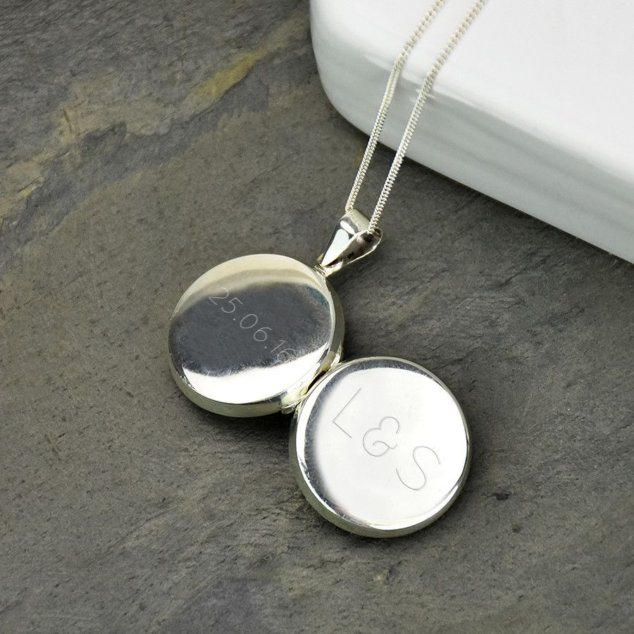 pin necklace silver locket lockets monogram sterling personalised