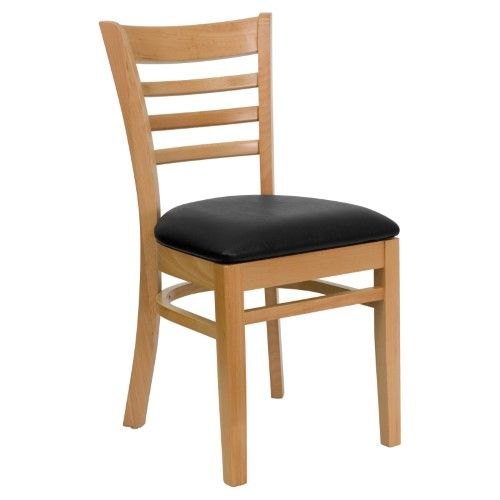 Flash Furniture Hercules 19 5 In Natural Wood And Vinyl Ladder Back Restaurant Chair Beige Wood Restaurant Chairs Wood Chair Restaurant Chairs
