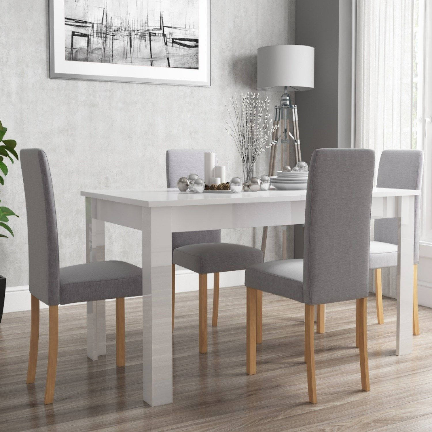 Vivienne White High Gloss Dining Table + 4 Grey Fabric