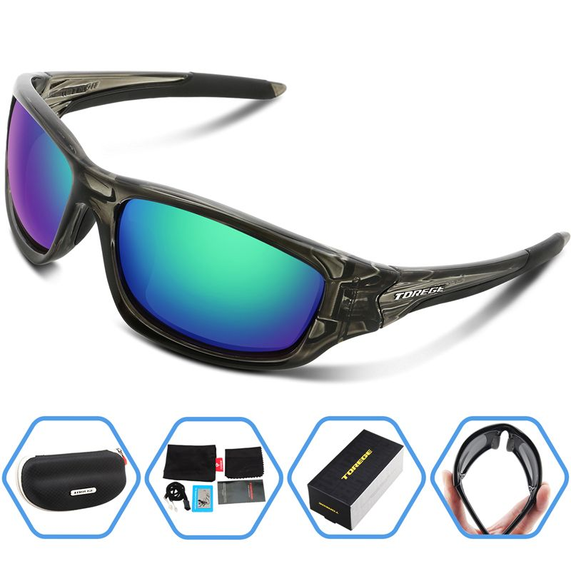 ef66460afb Torege Polarized Sports Sunglasses For Man Women Cycling Running Fishing  Golf Unbreakable Frame (Transparent Gray Red lens) -- Continue to the  product at ...