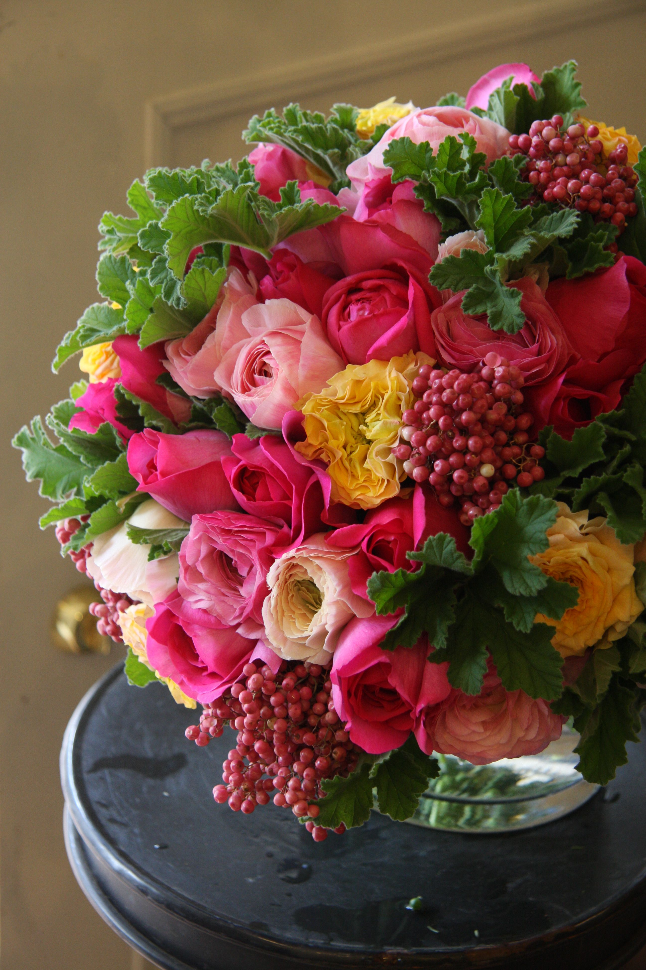 Rose Ranunculus And Pepperberry Beautiful Flower Arrangements Floral Arrangements Beautiful Flowers