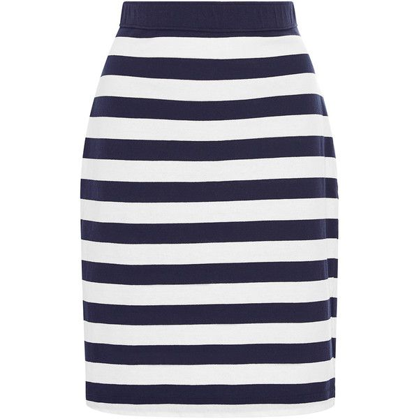 MDS Stripes Paley Pencil Skirt (410 BRL) ❤ liked on Polyvore featuring skirts, white skirt, high waist skirt, cotton pencil skirt, high-waisted skirts and high waisted pencil skirt