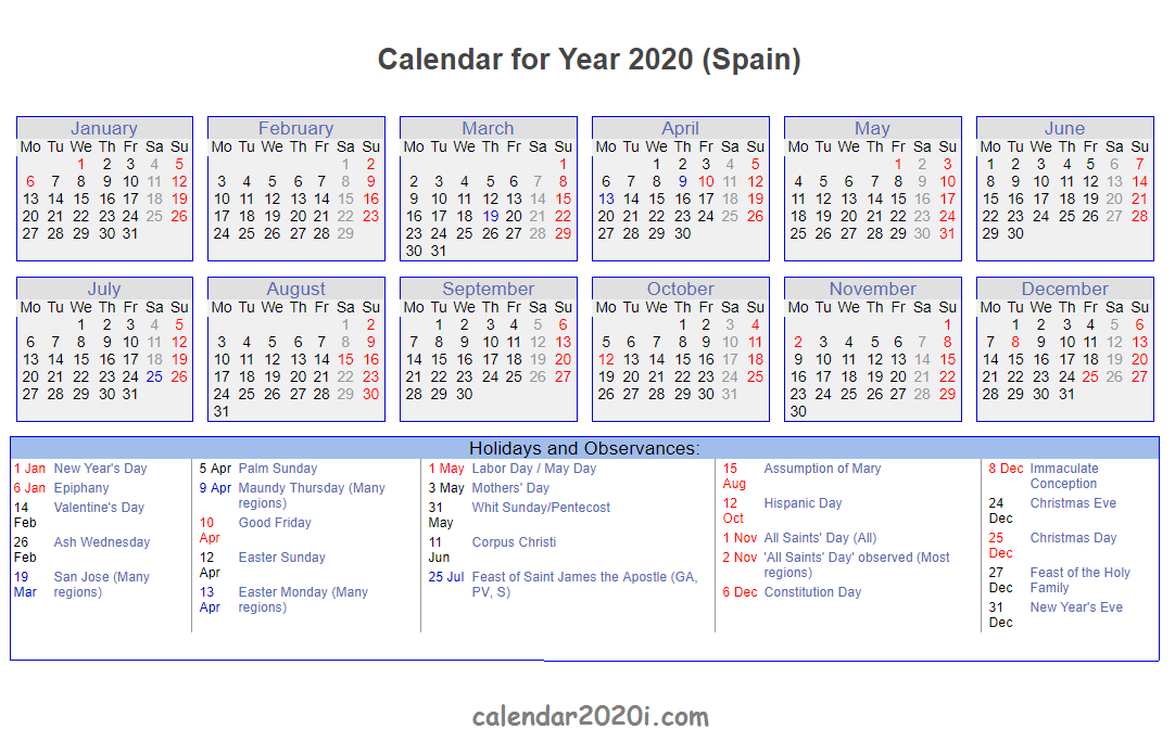 Spanish 2020 Printable Calendar With Holidays, Festivals