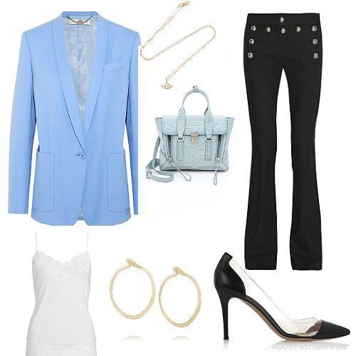 modal long lace vest + Stella MCCartney blazer  +  Gucci pants + 3.1 PHILLIP LIM blue bag + black pump .