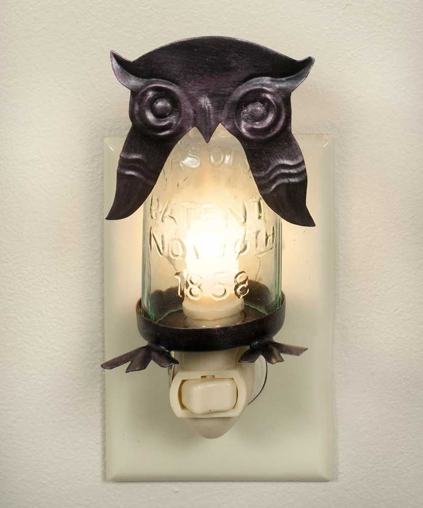 Mason Jar Owl Night Light