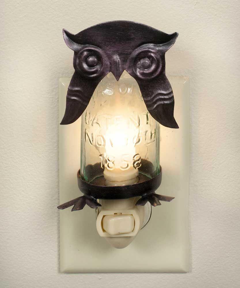 Mason Jar Owl Night Light