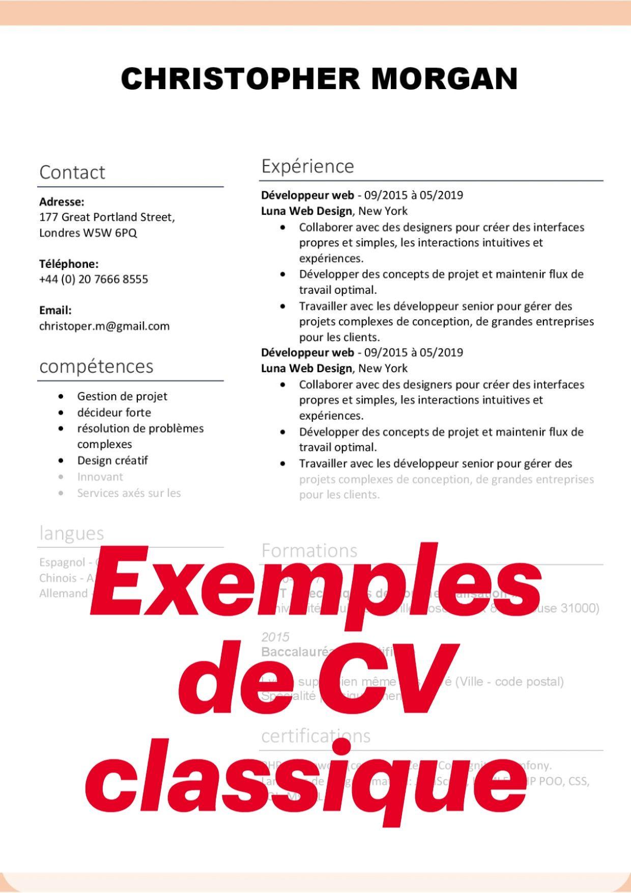 Exemples De Cv Classique Modele Cv Exemple Cv Cv Classique