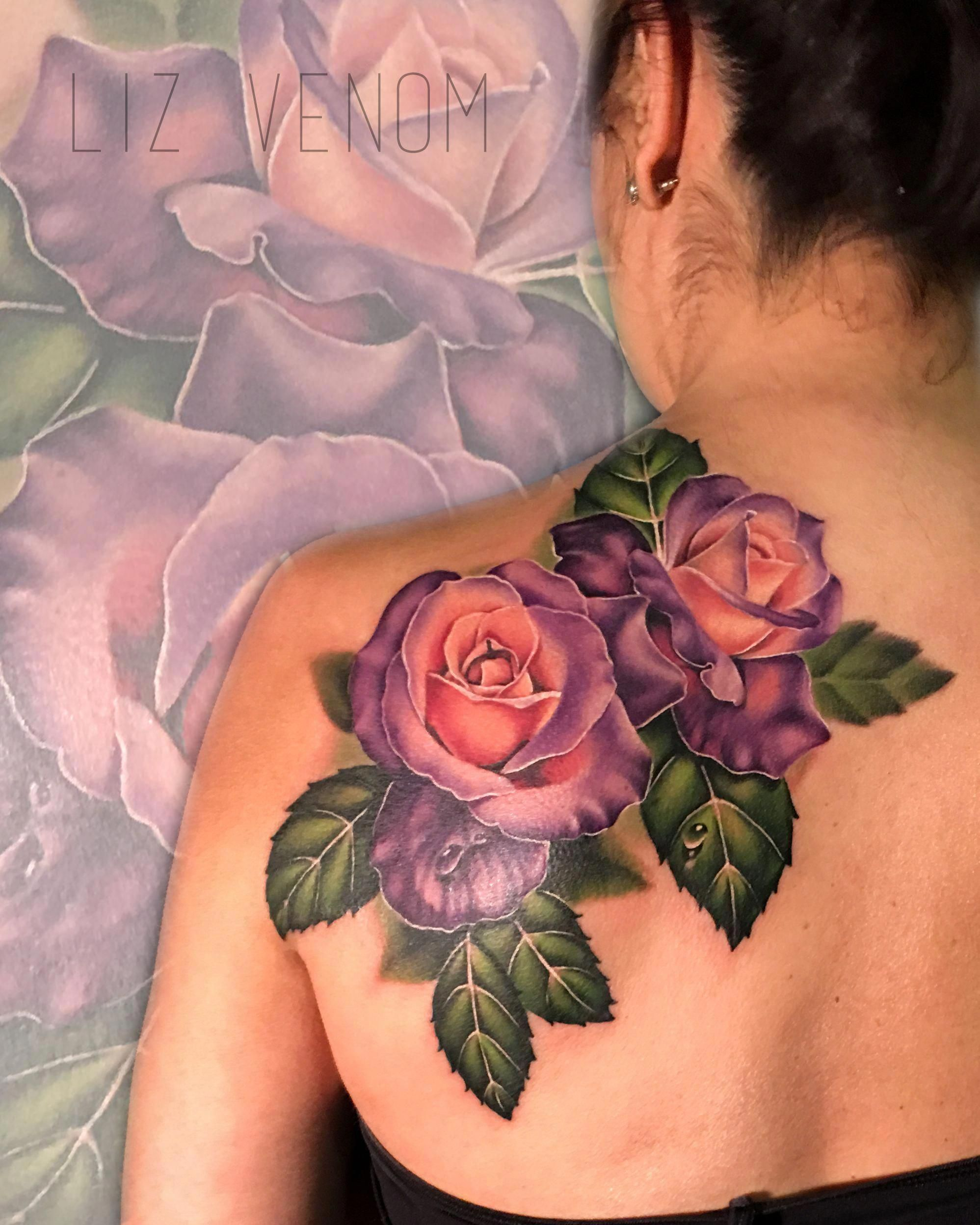 d12997a46 A lovely double rose tattoo from the exceptional Liz Venom at Bombshell  tattoo, Edmonton.