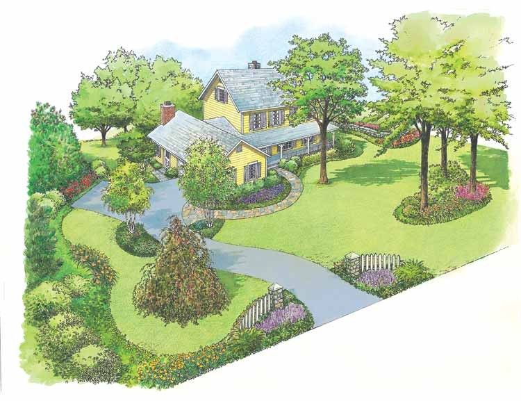 Eplans landscape plan country farmhouse style landscape for Country garden ideas and designs