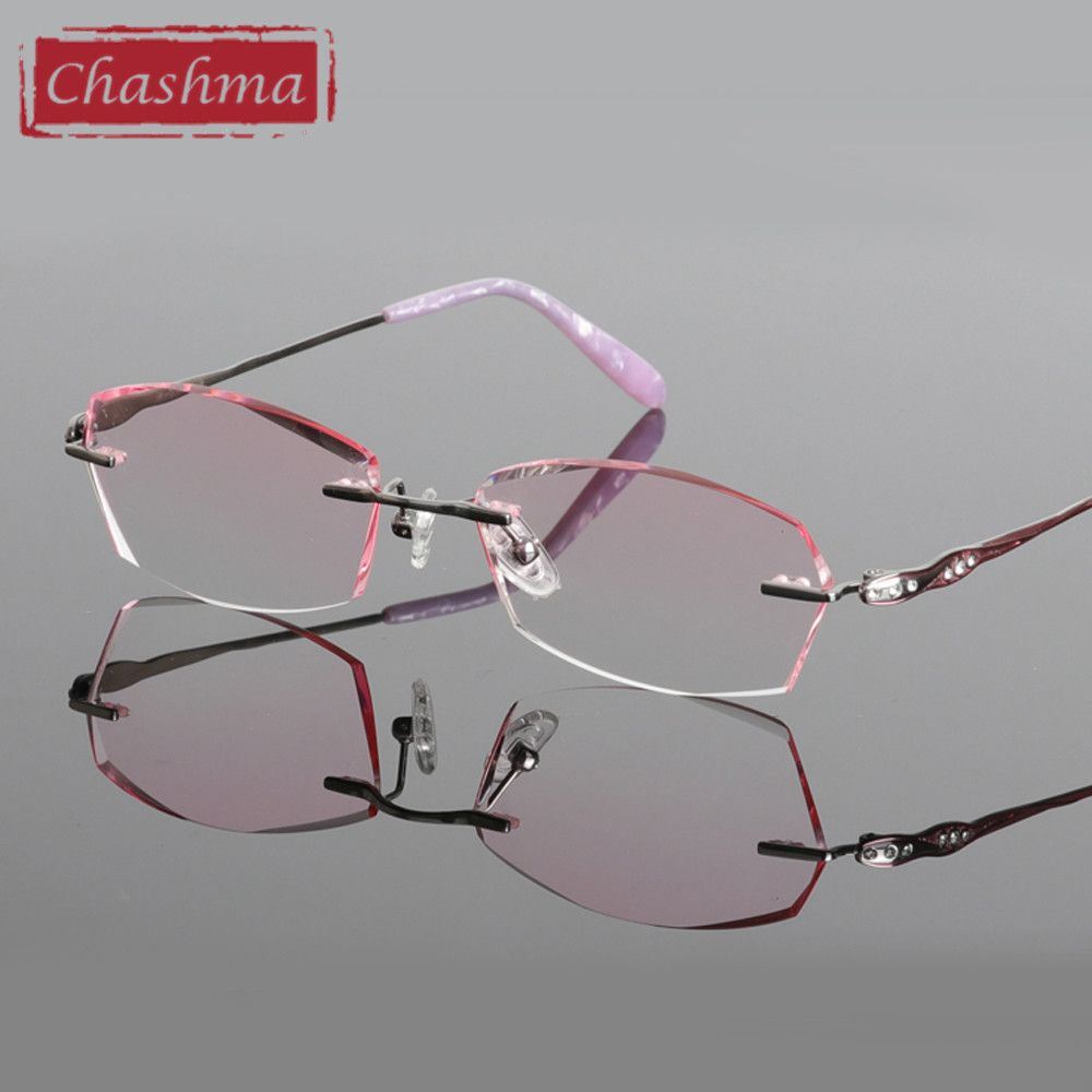 16339a940d Chashma Titanium Fashion Female Eye Glasses Diamond Trimmed Rimless  Spectacle Frames Women Eyeglass Frame Colored Lenses-in Eyewear Frames from  Women s ...