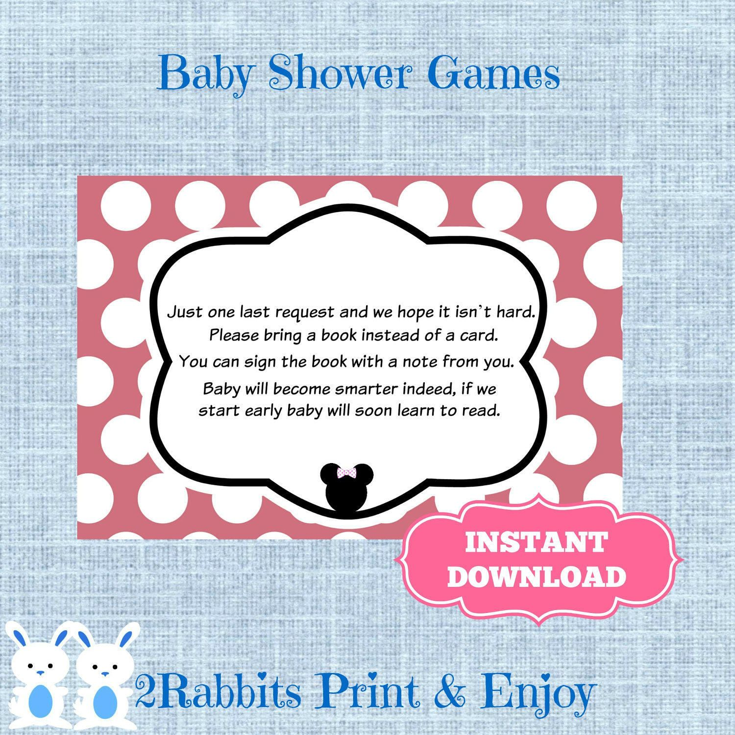 Minnie Mouse Baby Shower Bring A Book Instead Of A Card Invitation Insert    Disney Baby
