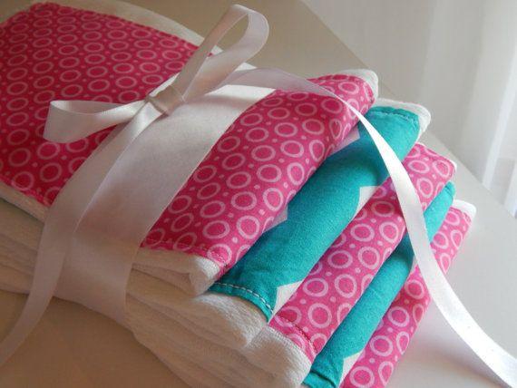 Baby Burp Cloth Chevron Aqua and Pink  Set of by luvstobecreative, $25.95