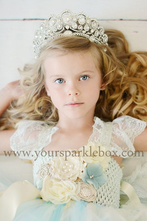 466720965816 Vintage Blue, Ivory and Champagne Tutu Dress and 18k White Gold Austrian  crystal crown by YourSparkleBox