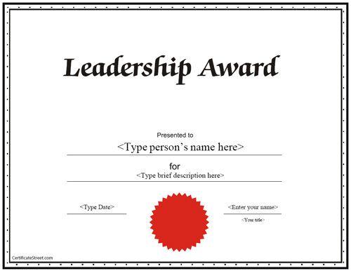 Education Certificate - Leadership Award Certificate