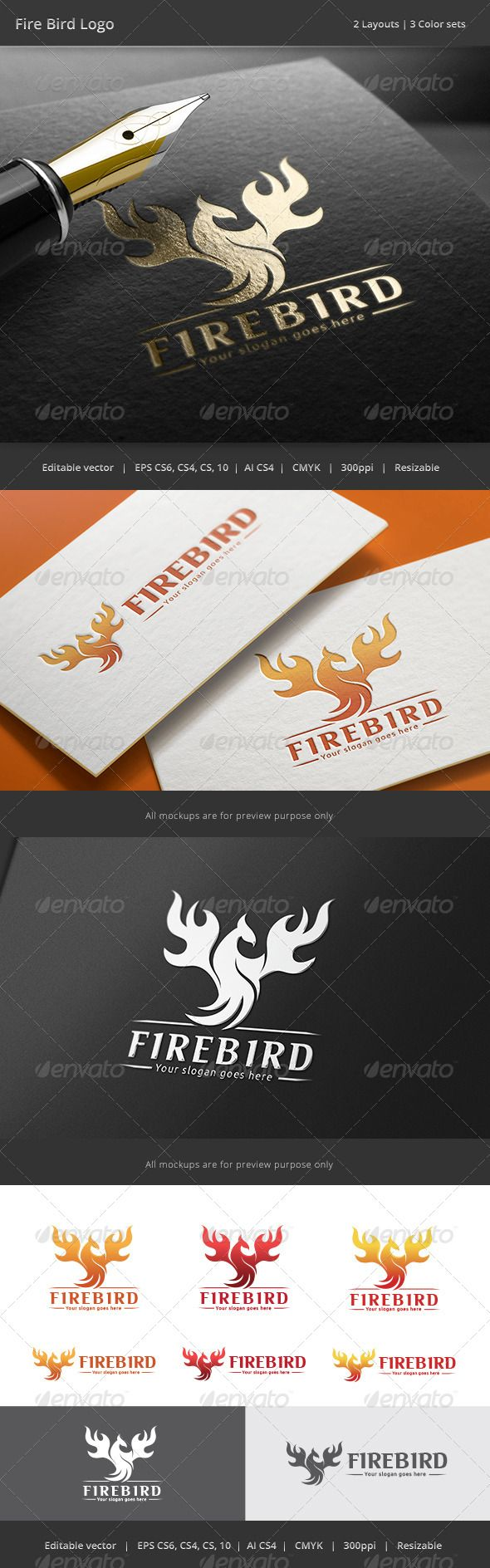 Fire Bird Logo - Animals Logo Templates