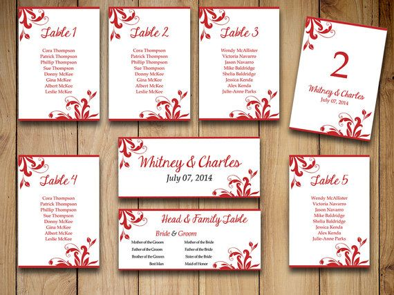 Printable Wedding Seating Chart Template Apple Red Table Number - number chart template